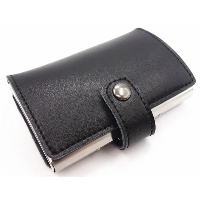 Caja de Metal de Aluminio de Acero inoxidable Hombres de la Caja de Tarjeta de Crédito & ID Titular Caso Cubierta de la caja de tarjeta Monedero de las mujeres Rfid billetera