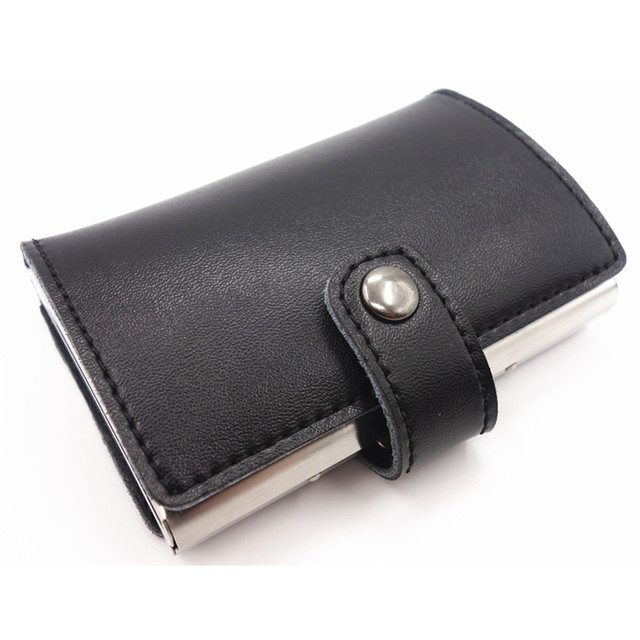 Caso o Metal De Alumínio Caixa de Aço inoxidável Homens de Negócios Titular Da Tampa do Caso Do Cartão de Crédito & ID caso do cartão Bolsa Da Moeda das mulheres Rfid carteira