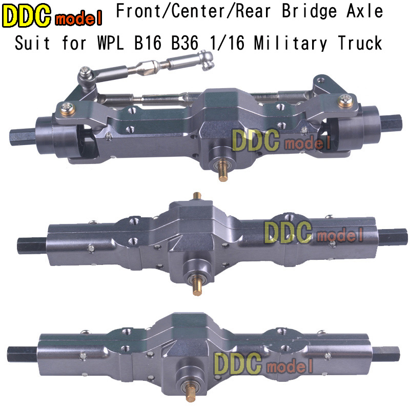 For WPL 1/16 B16 B36 6WD Replace Upgrade Front/ Rear/ Bridge Axle Part Set Military Truck RC Car Parts Aluminum Alloy Durable