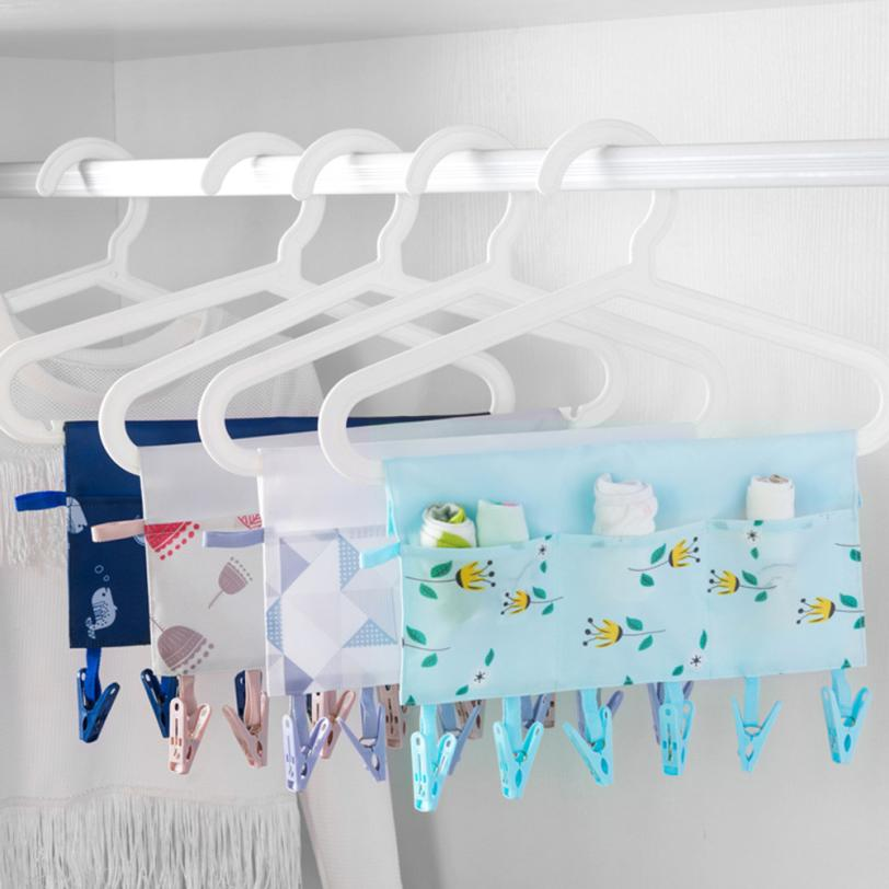 Useful Portable Socks Clothes Dry Rack with 3 Pockets Business Travel Portable Folding Cloth Hanging Bag Hanger Clips Hanger
