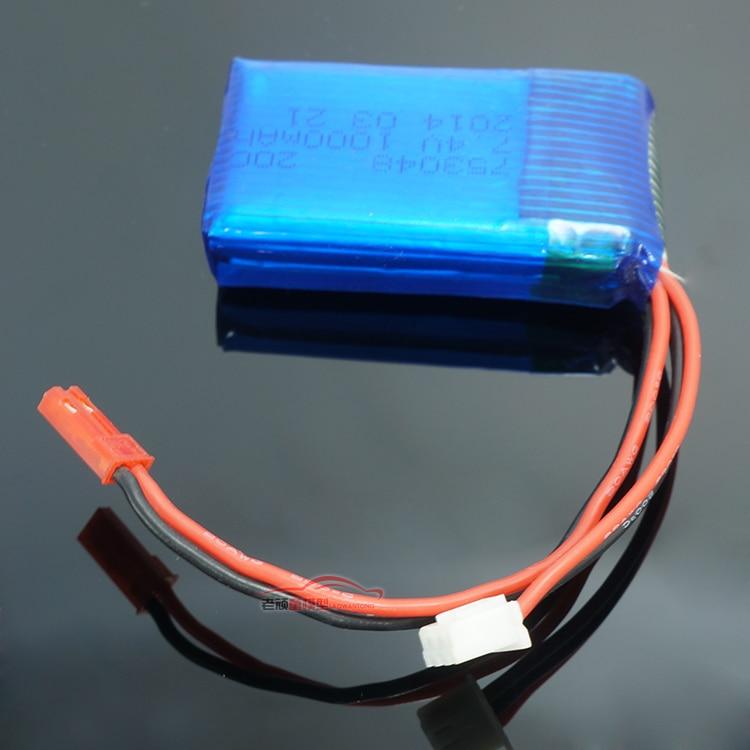 7.4V 1000mAh 20C Lipo battery for RC car WLtoys V262 V353 V912 V333 safe high quality free shipping 1pc 7 4v 1000mah li po battery for wltoys v262 v333 v353 v912 v915 ft007 devo4 mjx x600 rc helicopter hot sale
