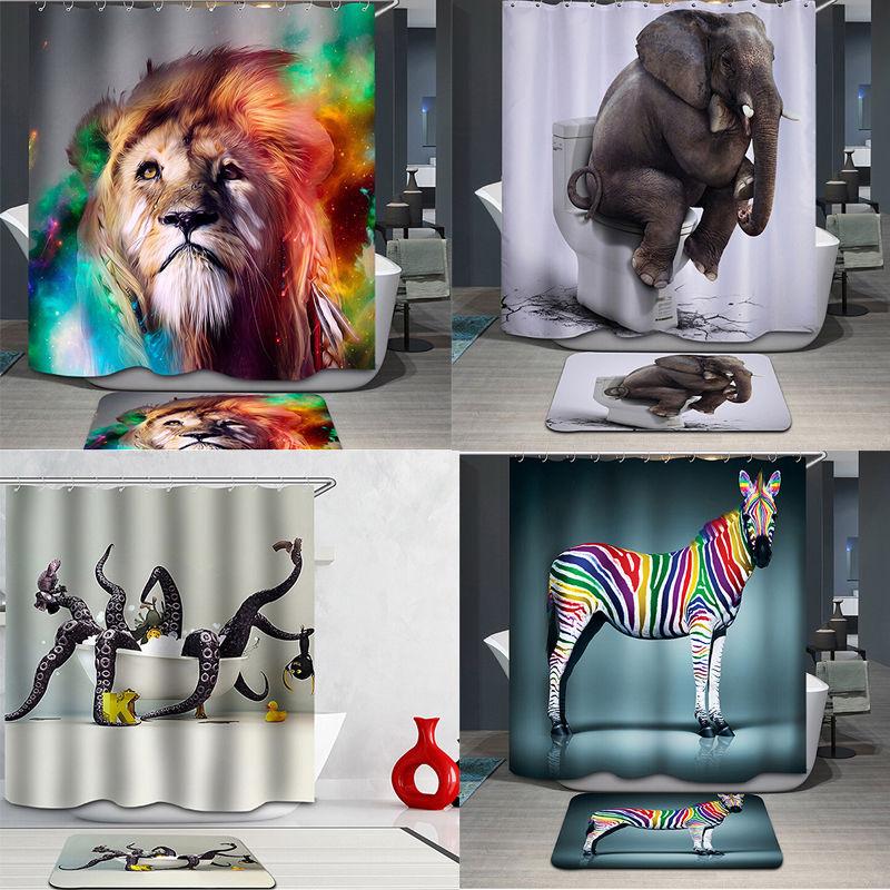 180 * 180 cm Polyester Douchegordijnen 3D Gedrukt Elephant Zebra - Huishouden