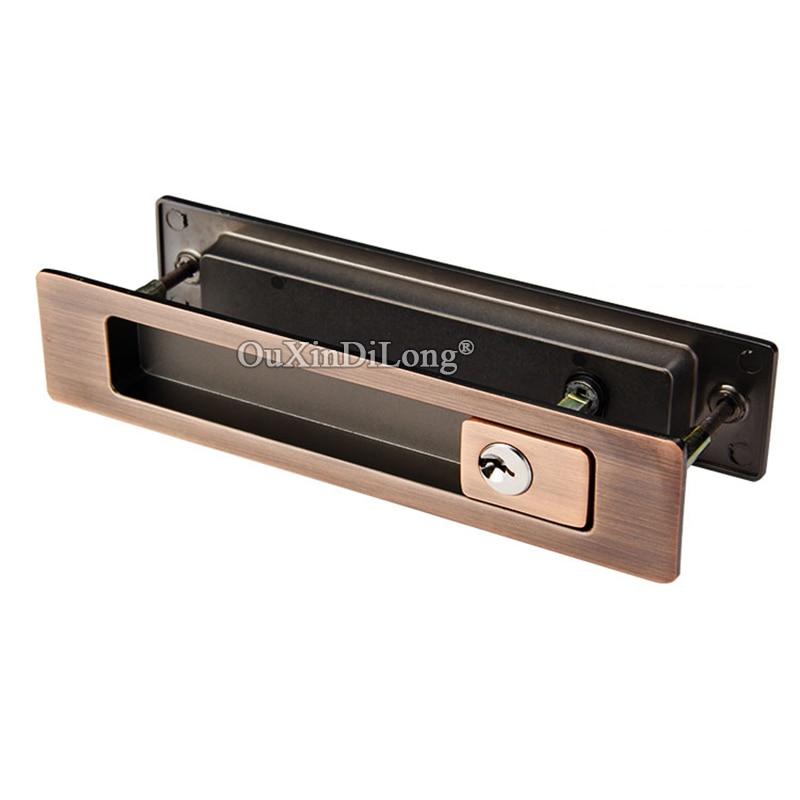 Brand New Recessed Sliding Door Lock Mortise Hook Lock Set Invisible Hidden Brass Cylinder Push/Pull Door Lock with Key / No Key-in Door Locks from Home Improvement    3
