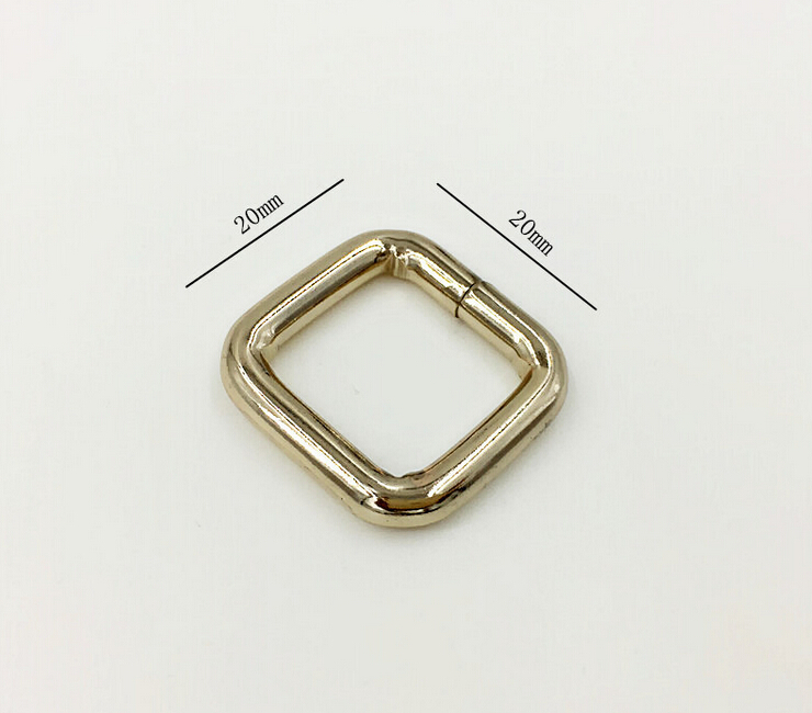 3/4''x3/4''High quality Lighter Gold Square Ring for Bag parts Bag hardware accessories, Shoes, Buckle belt parts Metal ring