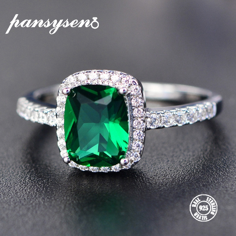 PANSYSEN 6 Colors Real Sterling Silver 925 Jewelry Emerald Gemstone Rings For Women New Fashion Wedding