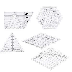 Image 5 - 5x キルティングポリゴン六角形状アクリルテンプレート縫製、キルティングやスクラップブッキング読みやすいマーキング