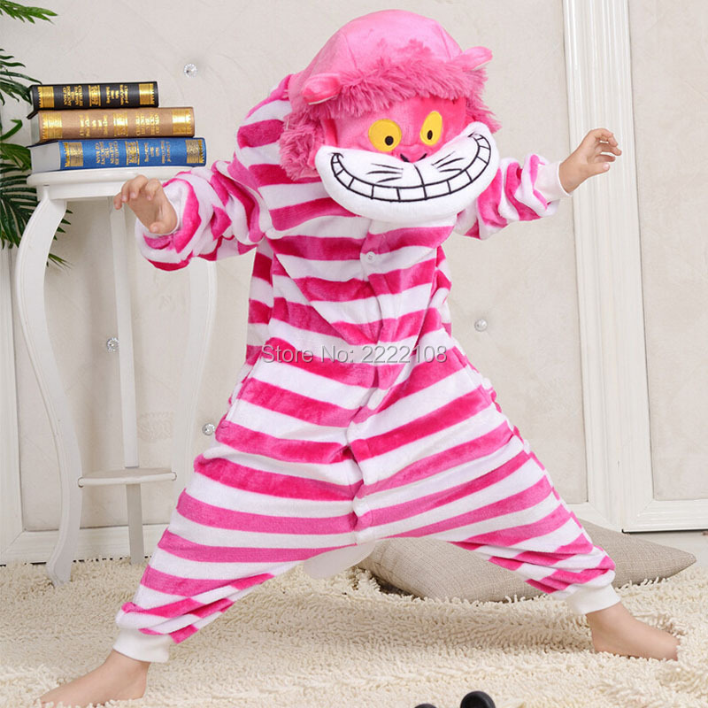 Winter Cheshire Cat Cosplay Children Cartoon Animal Onesie Flannel Pajamas Kids Hooded Jumpsuits Pijama Set Halloween Costume