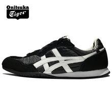 f7ee204a92e Original ONITSUKA TIGER SERRANO zapatos hombres mujeres tejido y anti-fu  negro blanco Unisex zapatillas clásicas Bádminton zapat.