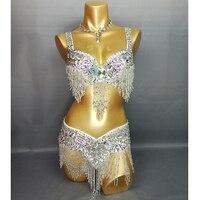 New Arrival Women S Beaded Belly Dance Costume Wear Bar Belt 2piece Set 4 Color Ladies