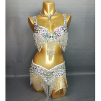 New Arrival Women S Beaded Belly Dance Costume Wear Bar Belt 2piece Set 4 Color Ladies