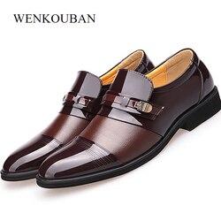 Nowe luksusowe buty ze skóry lakierowanej męskie buty na co dzień mieszkania letnie oddychające czarne brązowe męskie formalne buty na imprezę Plus rozmiar 48