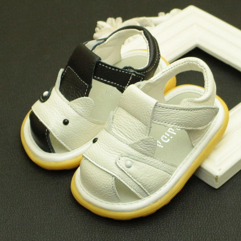 Free shipping cattle genuine leather sandals male children child shoes baby sandals beach boys girl sandal kids footwear