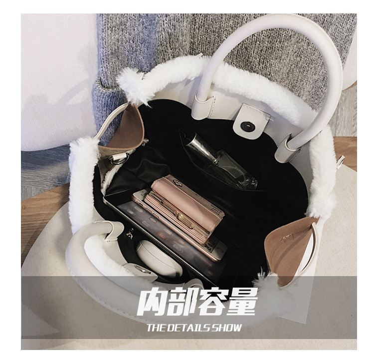Korean handbag large capacity bucket hand bag designer big tote designer Fur women messengerc winter shopping wool no lock 118