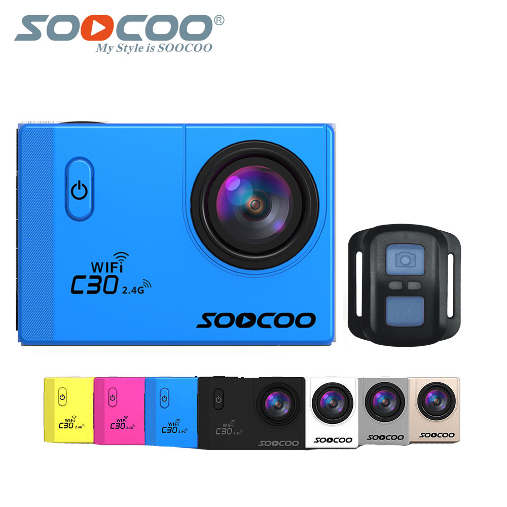 Action Camera SOOCOO C30R 4K Wifi Viewing angles 170 Degrees mini cam 2.0 LCD NTK96660 30M go Waterproof pro Camera underwater full hd 1080p optical zoom couplers endoscope coupler adapter medical endoscope camera adapter for rigid endoscope