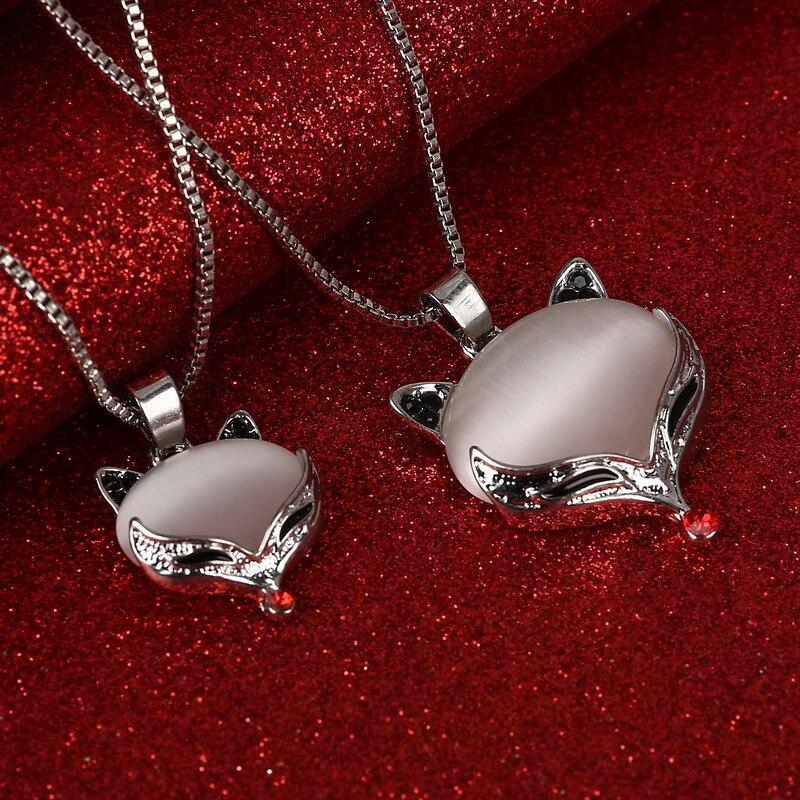 2017 Neue Halsreifen Opal Cat Eye Anhänger Halskette Luxus Frauen Doppel Fuchs Halskette Bijoux Frauen Modeschmuck