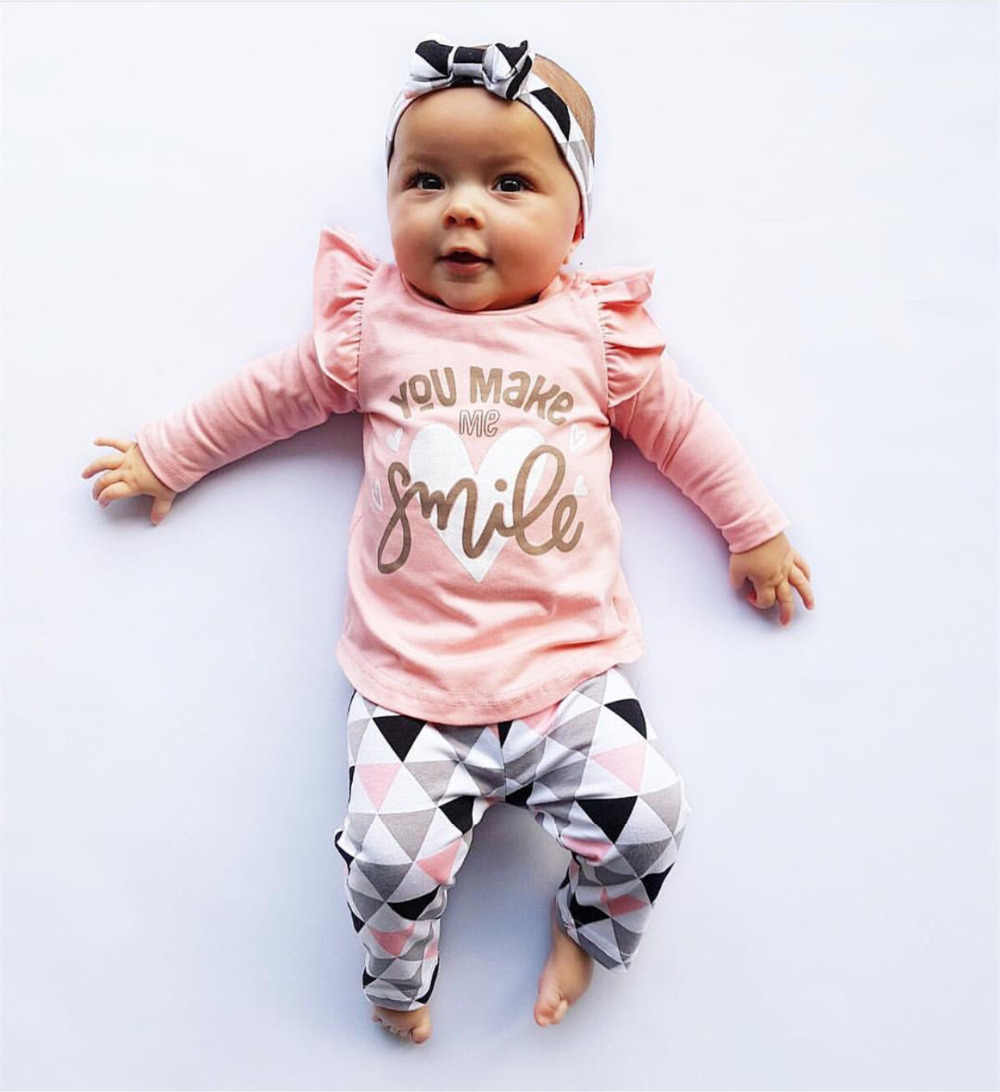 Infant clothing newborn baby girls clothes 3pcs set cute toddler cotton you make me smile outfits