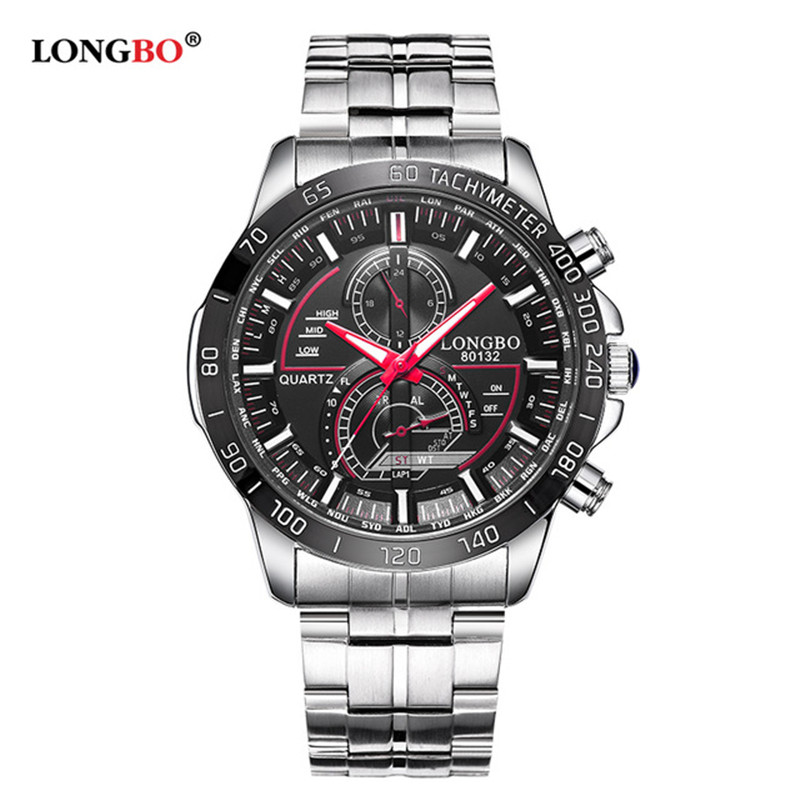 LONGBO Military Men Stainless Steel Band Sports Quartz Watches Dial Clock For Men Male Leisure Watch Relogio Masculino 80132