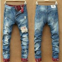 Men's Straight Leg Multi Pocket Jeans Slim Casual Denim Skinny Jeans Ripped  Pants Trousers NEW