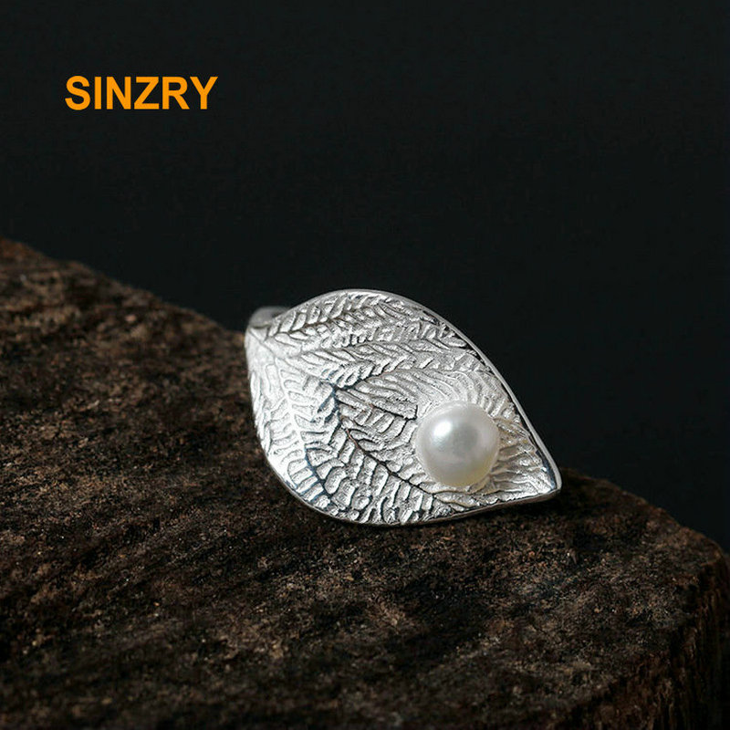 Sinzry 100% 925 Sterling Silver Creative immitation pearl adjustable rings Gracious Female leaf ring Fine Jewelry ...