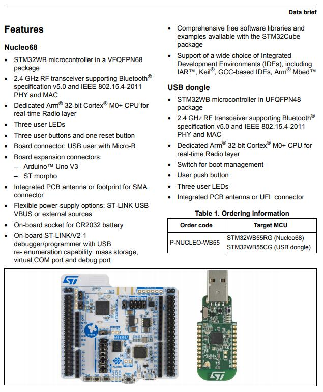 US $63 0 |1 pcs x P NUCLEO WB55 Development Kits ARM BLE Nucleo Pack  including USB dongle and Nucleo 68 with STM32WB55 MCUs-in Integrated  Circuits