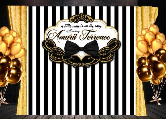 custom Black White And Gold Tie Bow Tie Striped Frame Baby Shower backgrounds Computer print party backdrops