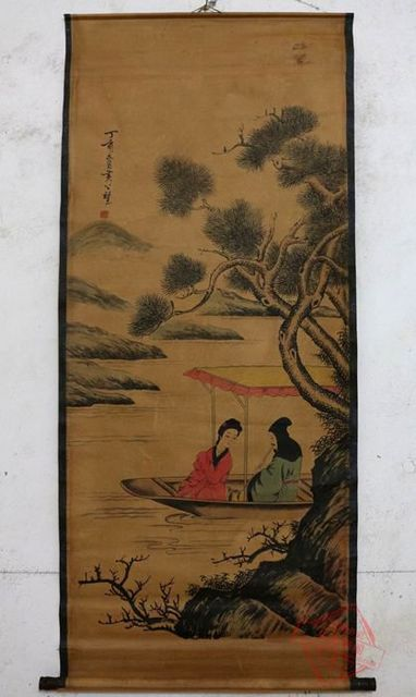 Antique QingDynasty Hand-painted Chinese calligraphy painting--Cruise ship,decoration  murals,crafts /collection & adornment