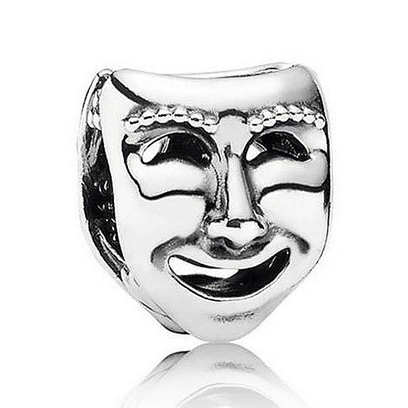 Аутентичные 925 пробы серебряные бусины-шармы ажурные милый театральные маски бусинами Fit Для женщин браслет Pandora Diy ювелирных