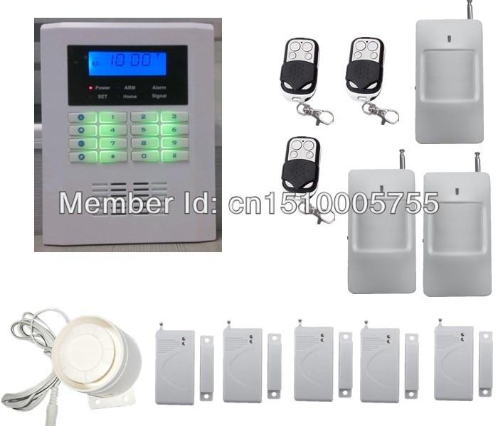 Inteligente sistema de alarme de segurança PSTN + GSM dual rede sem fio, kit 3 PIR detector + 5 sensor de porta, sistema de alarme Home