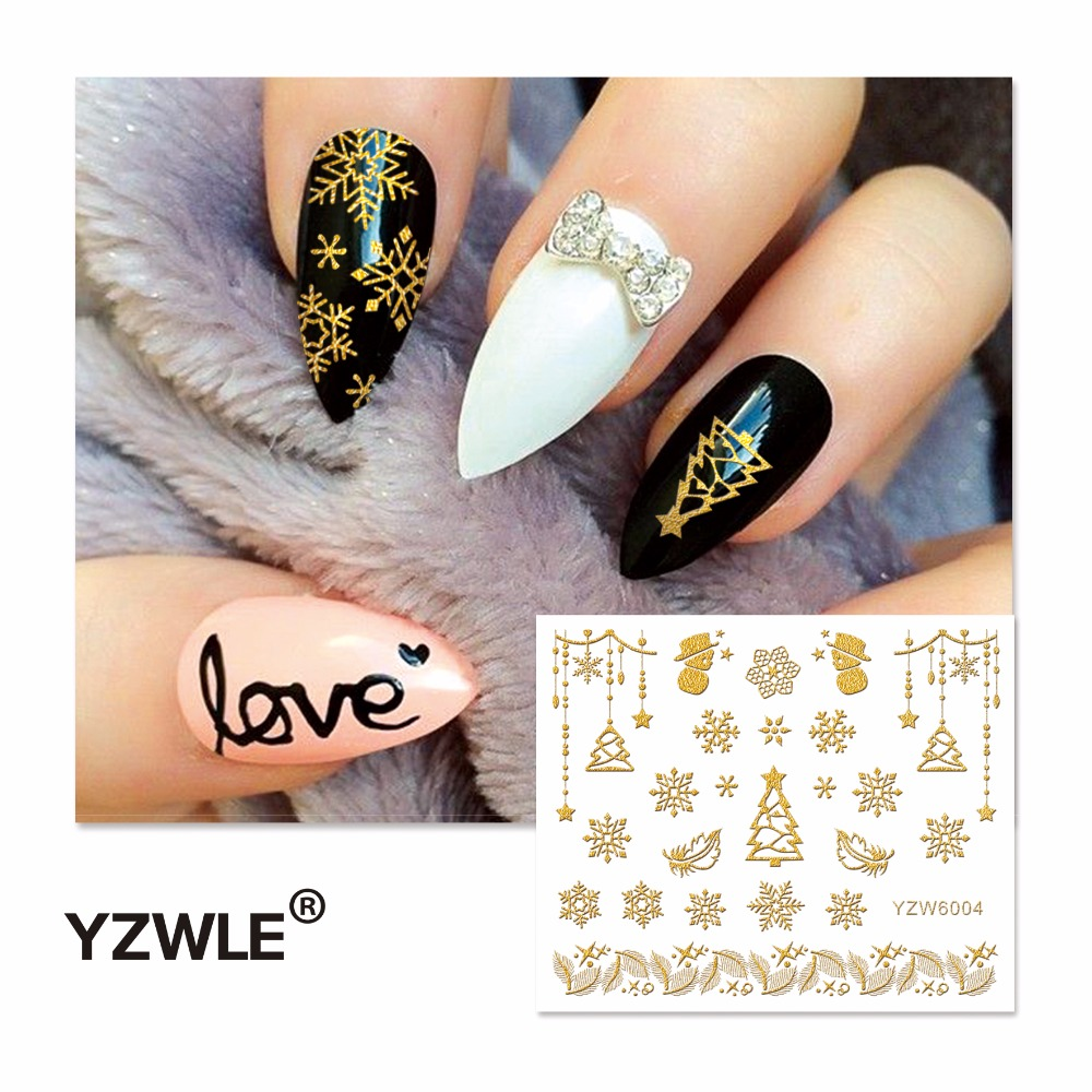 YZWLE 1 Sheet  Hot Gold 3D Nail Art Stickers DIY Nail Decorations Decals Foils Wraps Manicure Styling Tools (YZW-6004) yzwle 1 sheet new nail art full cover blue flower stickers decals water transfer wraps decorations manicure care tools