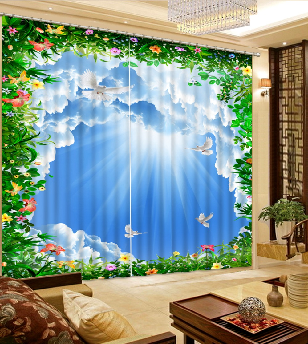 3D Curtain Modern Living Room Curtains Sky, Blue Sky, White Clouds, Flowers Home Curtains Decoration Bedroom Blackout Curtain