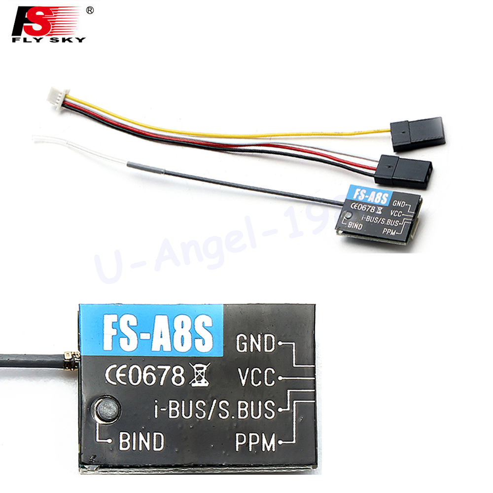 1pcs Flysky FS-A8S 2.4G 8CH Mini Receiver with PPM i-BUS SBUS Output For Rc Airplane Compatible with FS-i4 FS-i6 FS-i6S new 2 4g 8ch receiver ppm sbus output for frsky x9d plus xjt djt dft dht for rc multicopter fpv racing camera drone spare parts