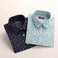 Рубашки Женщины Старинные Печатные Женщины Блузка с Отложным Воротником Дамы Офис Блузка Рубашка Хлопок Сорочка Femme 2017 Blusas Плюс размер