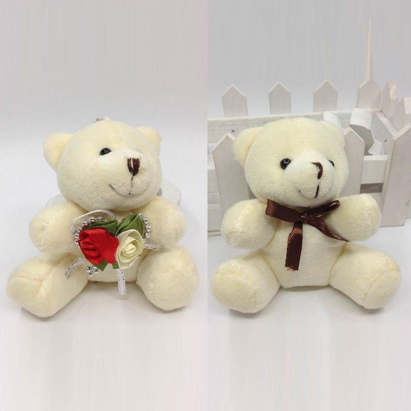 9 см x 12 шт. мультфильм сидит плюшевый мишка с цветком и бантом урсо де pelucia брелок baby Shower/свадебный подарок мягкие Игрушечные лошадки