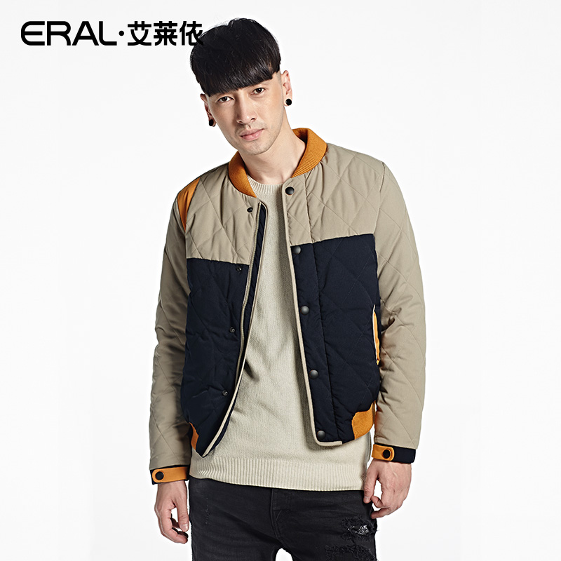 ERAL Mens Winter 2016 Stand Collar White Duck Down Coat Contrast Color Casual Slim Thermal Short Dwon Jacket ERAL19017-EDAA