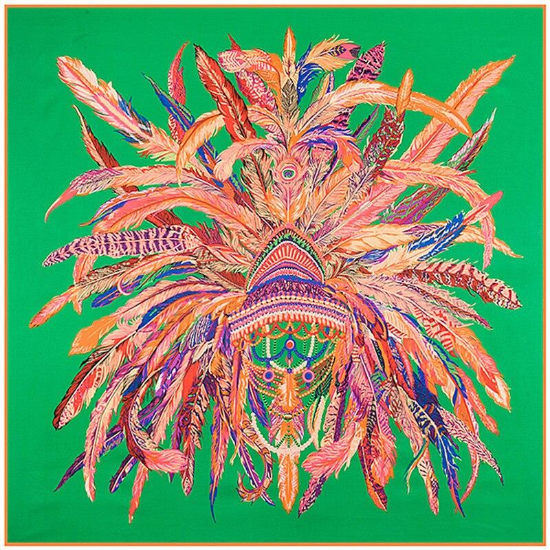 130 Cm * 130 Cm 2019 Luxus Marke Indische Feder Crown Print Twill Seide Schal Für Frauen Stirnband Weibliche Große Platz Schals Schals