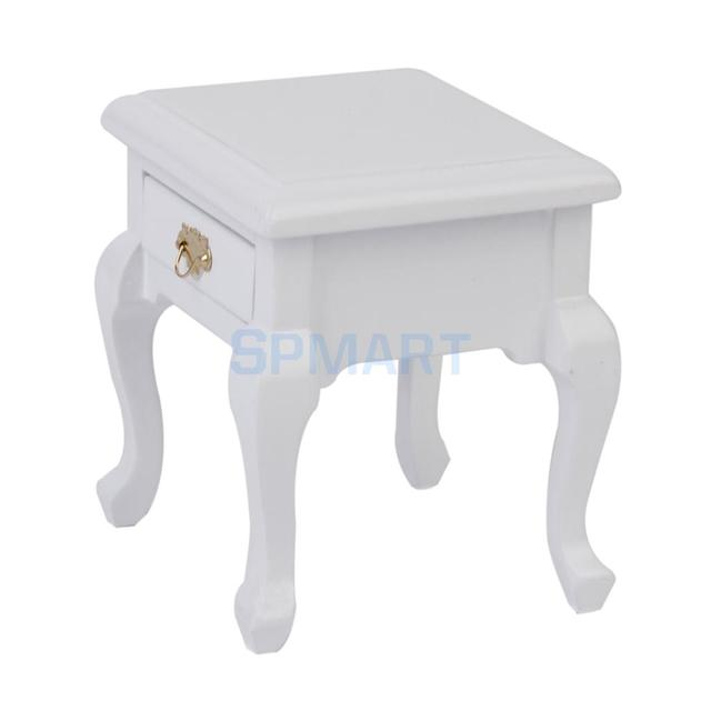 1/12 Dollhouse Miniatura Muebles De Madera mesa de Noche Blanco en ...