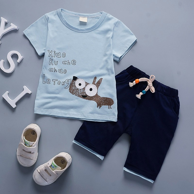 New Kids Cartoon Cotton Clothing Sets for Newborn Baby Boy Girl Infant Fashion Outerwear Clothes Suit T-shirt+Pant Suit 11 Style