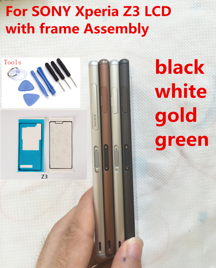 White black gold green LCD Display Touch Screen Digitizer with frame Assembly free tools For Sony Xperia Z3 D6603 D6653 D6633 free shipping jasmine 30g tank flower tea green tea chinese tea
