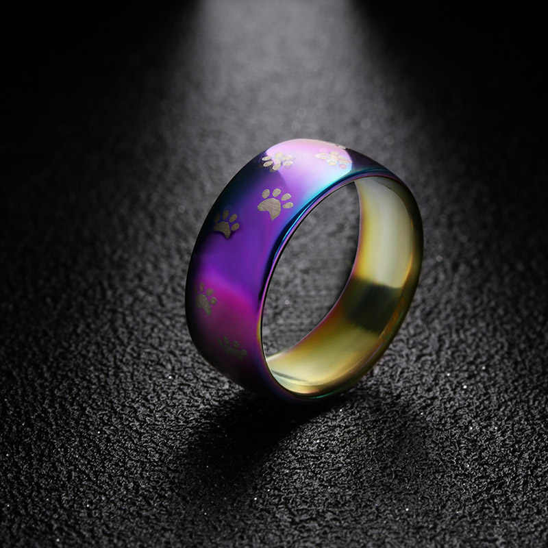 EKUSTYEE Women Rainbow Ring dog cat paw print rings Stainless Steel Wedding Band Ring Width 8mm dog lover gift