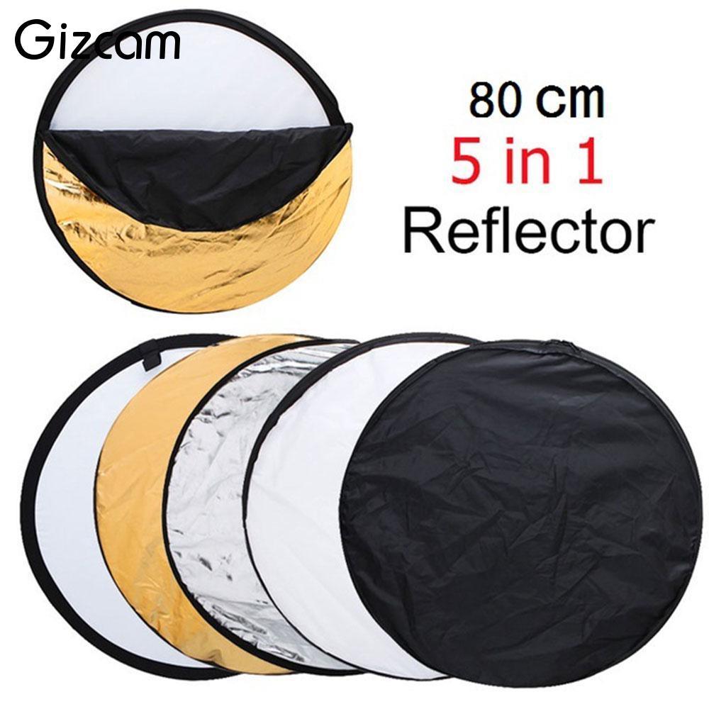 Gizcam Round 80cm 5 in 1 Photo Studio Collapsible Flex Light Reflector Panel Portable Photograph Accessories Background Tool qzsd 80cm portable photography reflector studio accessory