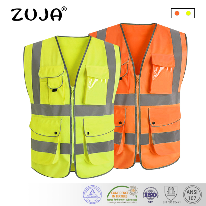 Hi vis vest workwear clothing safety reflective vest safety vest reflective logo printing jiade two tone hi vis safety vest reflective