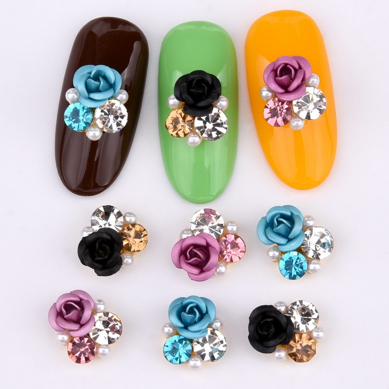 Image 5 - 10psc  New Design 3D Nail Art Alloy Decorations rose flowers Crystal rhinestones Nail Charms Supplies LH322 330-in Rhinestones & Decorations from Beauty & Health