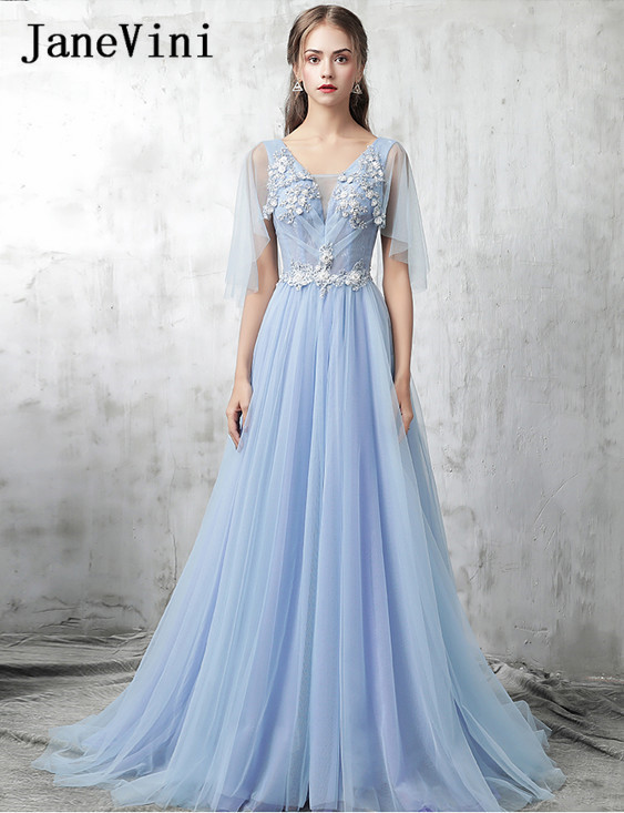 JaneVini 2018 Fairy Tulle Beading Long Bridesmaid Dresses For Weddings A-Line Embroidery Appliques Women Wedding Party Dresses