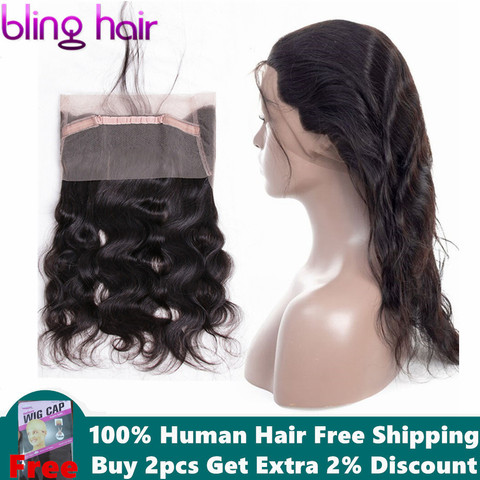 Bling Hair Brazilian Body Wave Closure 360 Lace Frontal With Baby Hair Free Part 100% Remy Human Hair Closure Natural Color Pakistan