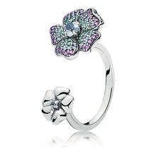 f04248cee Authentic 925 Sterling Silver Ring For Women Glorious Blooms Ring  Multi-Colored CZ Girl Finger Anel fit Pandora Jewelry
