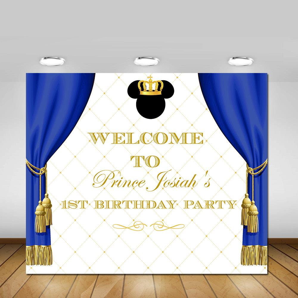 Custom Mickey Mouse Royal Blue Gold Crown backdrop polyester or Vinyl cloth High quality Computer print birthday backdrops custom vinyl cloth print blue textured