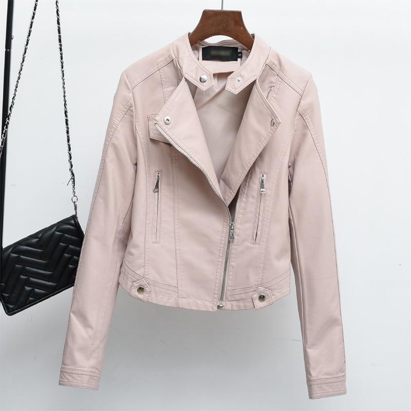 PU   Leather   Jacket 2018 Women's New Year Design PU   Leather   Jacket Soft   Leather   Coat Slim Lapel Motorcycle Jacket Black Pink