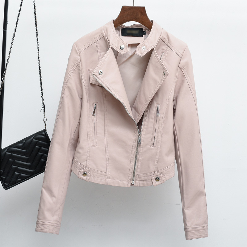PU Leather Jacket 2018 Womens New Year Design PU Leather Jacket Soft Leather Coat Slim Lapel Motorcycle Jacket Black Pink