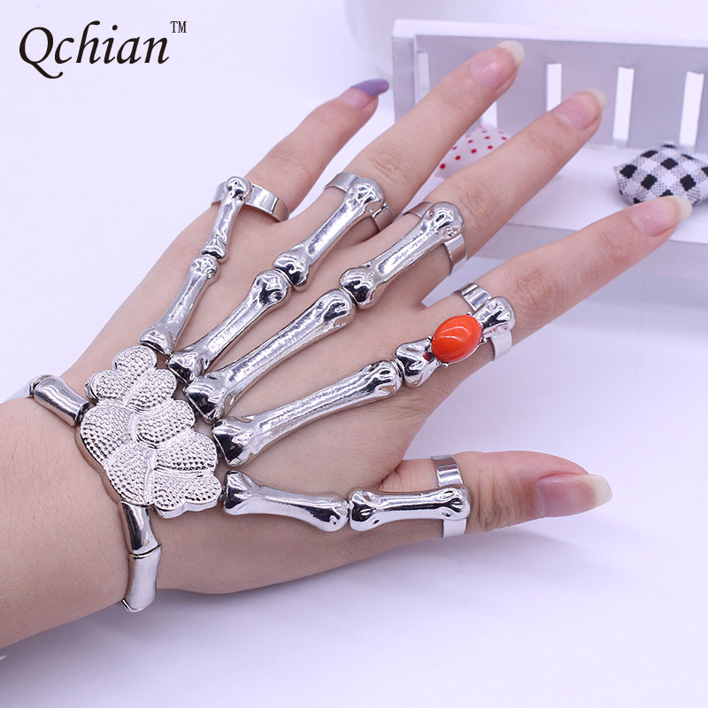 Amy1986 Store Hot Sale Silver Punk Rock Skeleton Skull Hand Bone Bracelet Goth Skeleton Bracelet With Pulse Red Beadsras For Women Gift