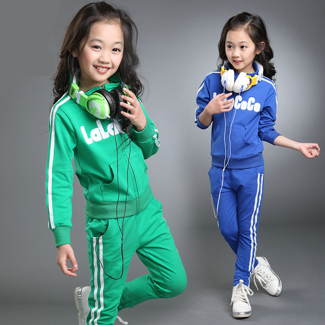 Kids Girls Sport Suits Set Spring Autumn 2016 Teenage Girls' Clothing Set Long Sleeve Top & Pants 2 pcs Outfits Girls Tracksuit